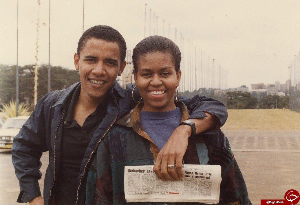 عکسی زیر خاکی از اوباما و همسرش